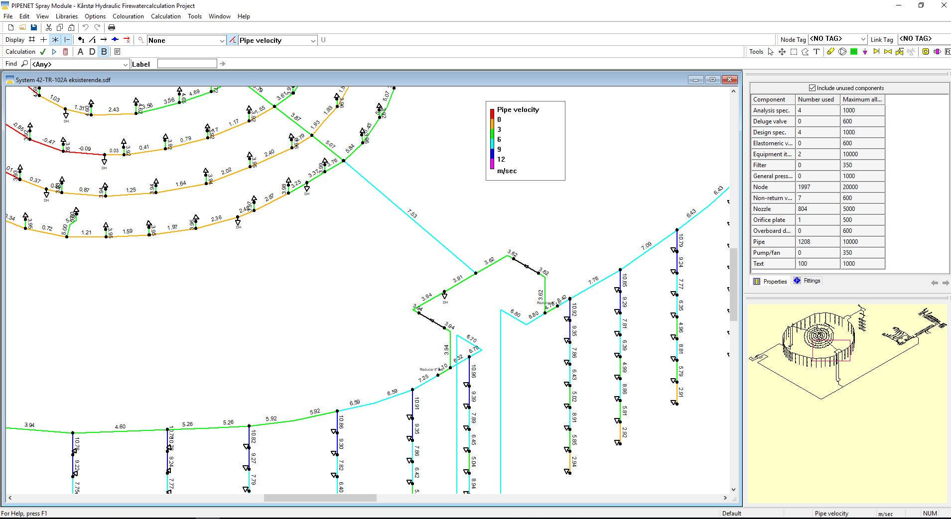 PIPENET Spray/Sprinkler software hydraulic analysis of firewater systems